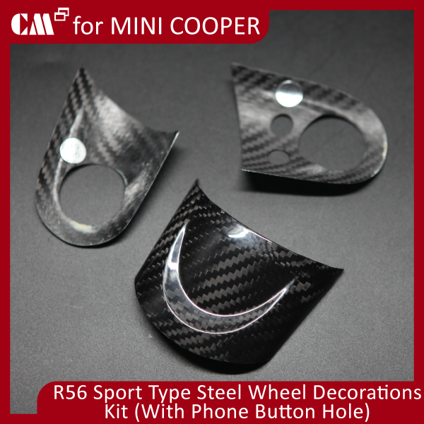 for for Mini Cooper R55 R56 R57 SPORT Real Carbon Steeling Wheel Decorations Kit Cover