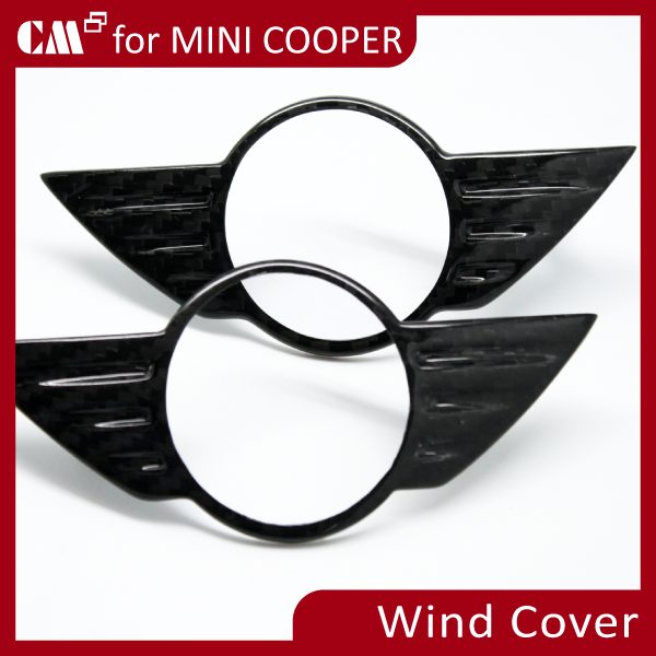 for Mini Cooper R56 Real Carbon Boot Trunk Lid Hood WING Badge Cover (Front + Rear)